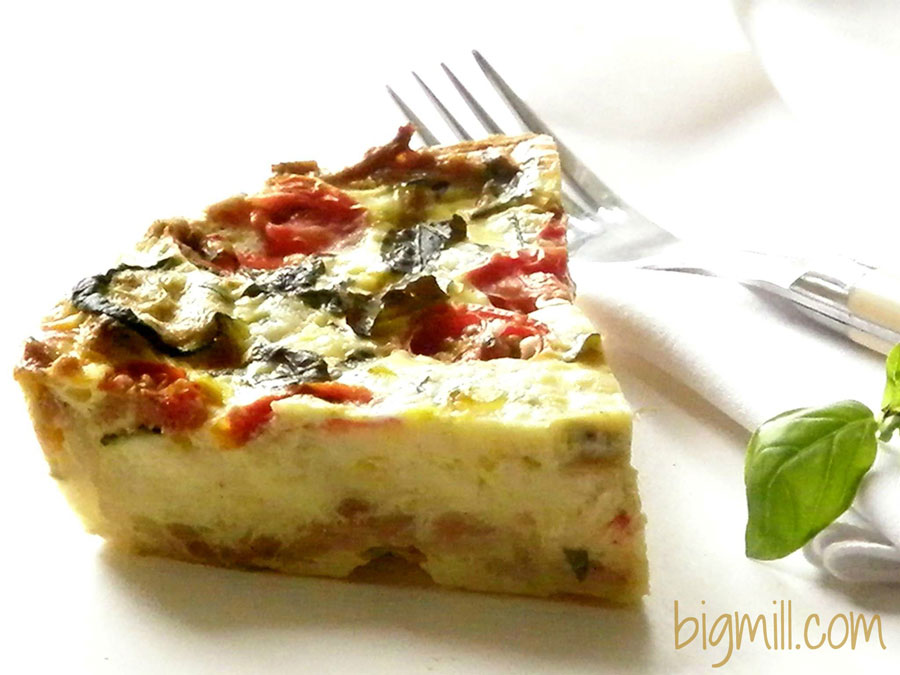 Easy Zucchini and Tomato Quiche recipe is great for breakfast or brunch | bigmill.com