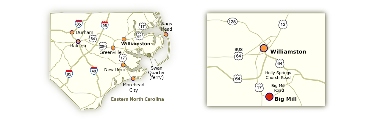 eastern NC map and local map
