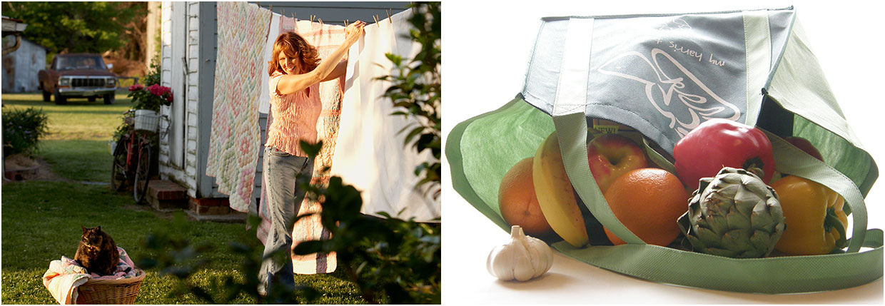 2 images; Chloe hanging sheets to dry; cloth grocery bag