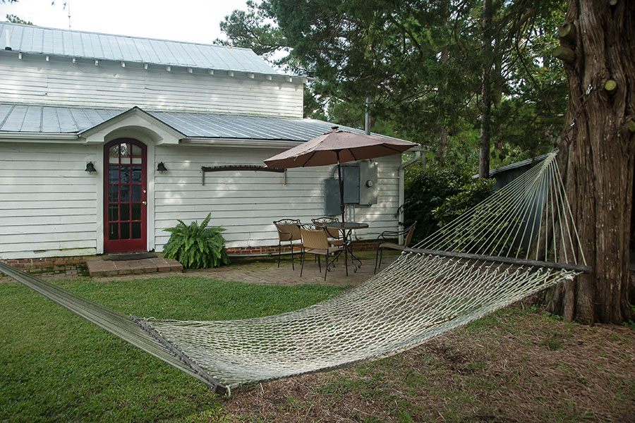 side yard with hammock